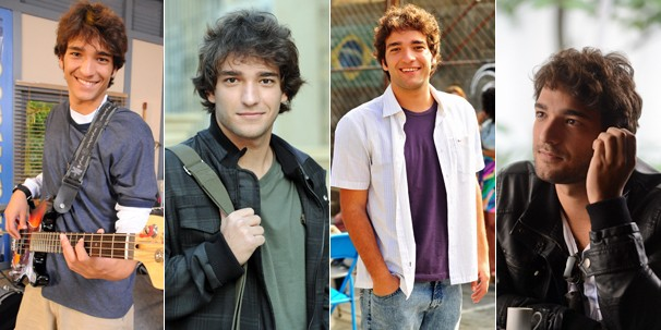 Humberto Carrão como Caio Lemgruber, em Malhação (2009), como Luti, em Ti-ti-ti (2010), como Elano, em Cheias de Charme (2012) e hoje, como o Fabinho de Sangue Bom (2013) (Foto: Rede Globo)