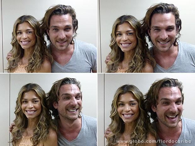 Grazi e Igor brincam nos bastidores (Foto: Flor do Caribe / TV Globo)