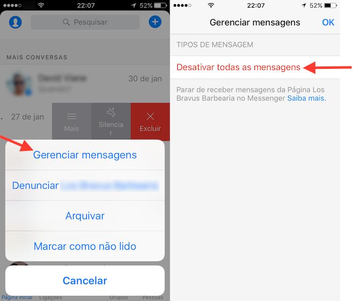 Caminho para desativar novas mensagens de uma página do Facebook no Messenger (Foto: Reprodução/Marvin Costa)