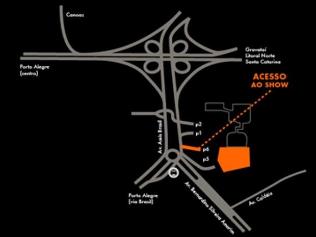 Mapa de acesso à Fiergs para o show do Black Sabbath (Foto: Reprodução)