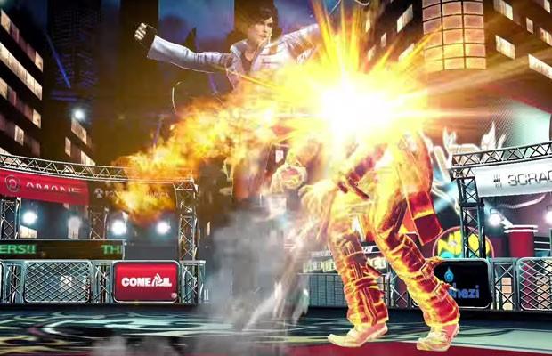 Cena do game de luta 'King of Fighter XIV', para PS4. (Foto: Reprodução/YouTube)