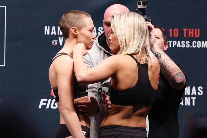 Rose Namajunas x Paige VanZant Pesagem UFC (Foto: Evelyn Rodrigues)