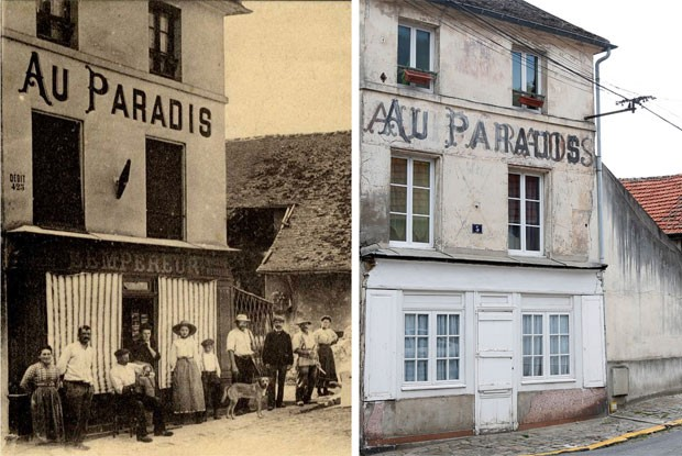 Imagem atual e outra de 1915 do 'Café Au Paradis', que acabou de portas fechadas com o esvaziamento da localidade  (Foto: Reuters/Charles Platiau)