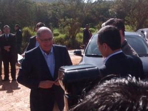 Governador Geraldo Ackmin esteve em Suzano para entregar obras de ligação do Rio Guaió com Sistema Alto Tietê (Foto: Maiara Barbosa/G1)