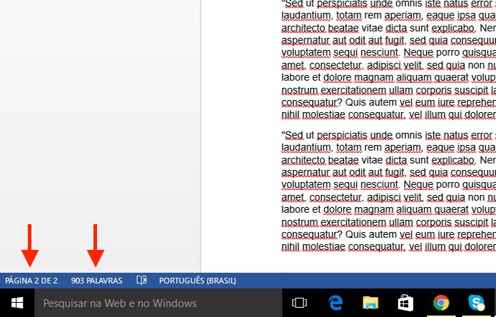 Contador de páginas e palavras do Microsoft Word (Foto: Reprodução/Marvin Costa)