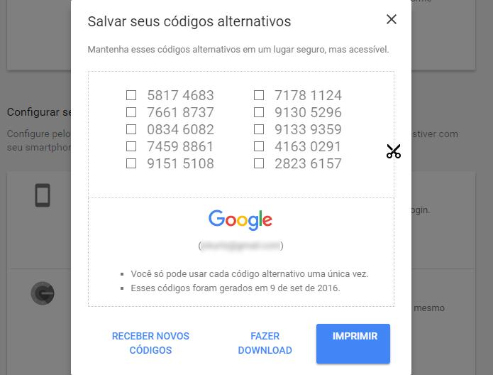 a84d1068d Google cria códigos aleatórios para acessar contas com verificação em duas  etapas ativada (Foto