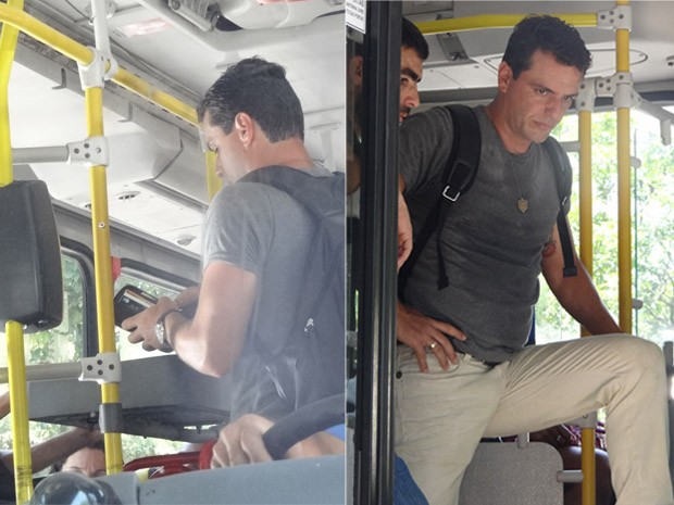 Lombardi grava dentro de ônibus coletivo (Foto: Salve Jorge / TV Globo)
