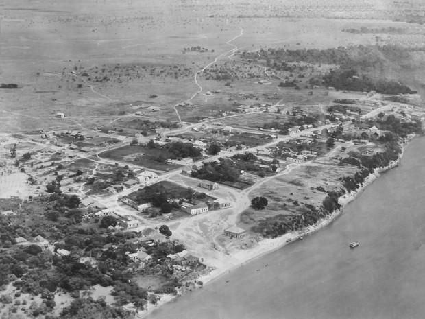 Foto aérea de Boa Vista do Rio Branco tirada em 1925 pelo fotógrado George Huebner (Foto: Maurício Zouein/Arquivo Pessoal)