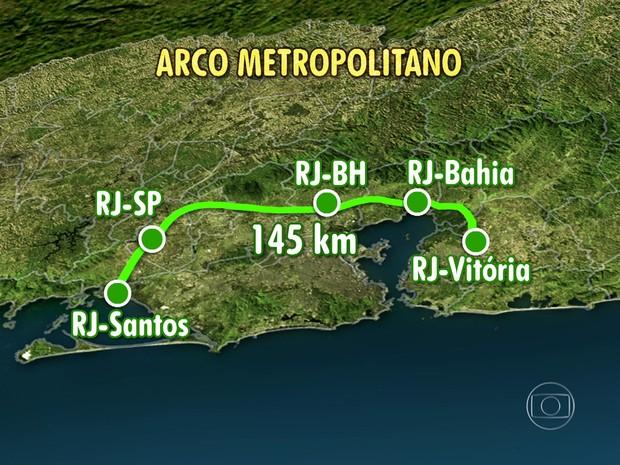 Via é interligada a cinco rodovias interestaduais (Foto: Reprodução / TV Globo)