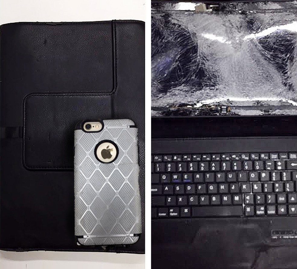 Notebook e celular encontrados (Foto: )