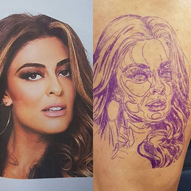Resultado de imagem para Fã tatua o rosto de Juliana Paes