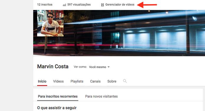 Acessando a página de gerenciamento de vídeos do YouTube (Foto: Reprodução/Marvin Costa)
