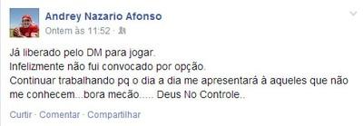 Andrey - goleiro do América-RN (Foto: Reprodução/Facebook)