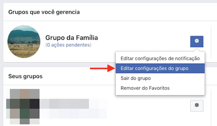 Acesso para as configurações de um grupo do Facebook (Foto: Reprodução/Marvin Costa)