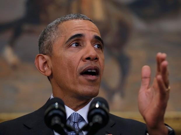 Barack Obama durante discurso em que anunciou seu plano de fechar Guantánamo (Foto: Reuters/Carlos Barria)