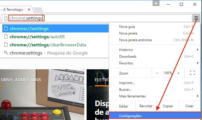 Acessando as configurações do Google Chrome (Foto: Reprodução/Edivaldo Brito)