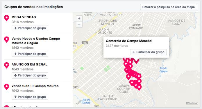 Localizando grupos de vendas em uma cidade (Foto: Reprodução/Helito Bijora)