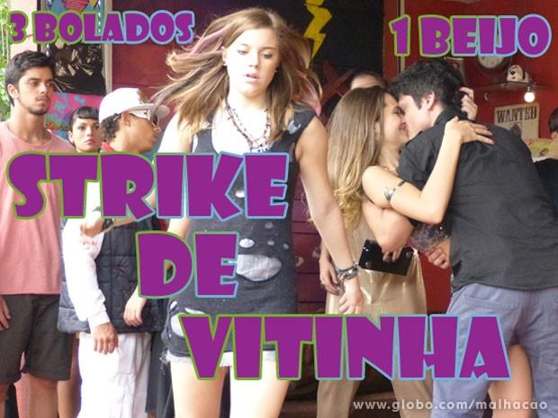 VISH! #ViTinha pode até ter aproveitado o beijo, mas deixou MTA gnt bolada! (Foto: Malhação / Tv Globo)