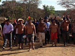 Indígenas afirmam que vão demarcar terras por conta própria.  (Foto: Yarima Mecchi / G1 MS)