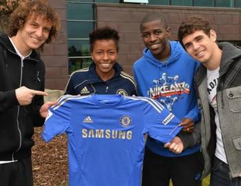 Ester, Ramirez, Oscar e David Luiz  no Chelsea (Foto: Divulgação / Site oficial do Chelsea)