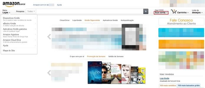 Acesse Sua conta, na parte superior direita da página inicial da Amazon.com (Foto: Reprodução/Paulo Finotti)
