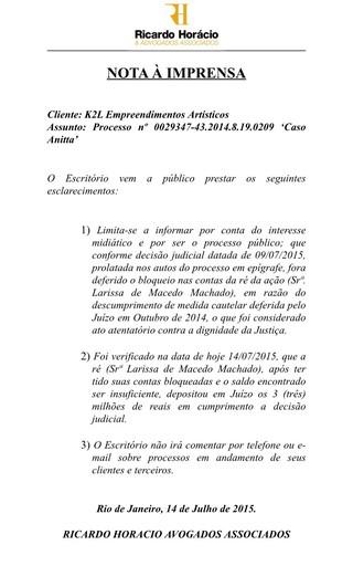 Comunicado dos advogados de Kamilla Fialho (Foto: Divulgação)