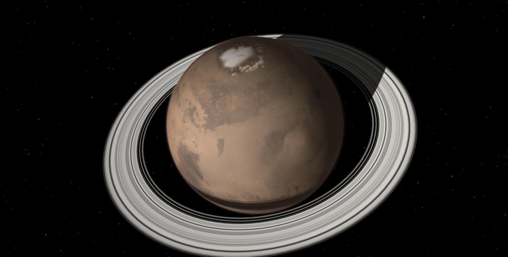 Sistema de anéis marcianos deve durar de 1 a 100 milhões de anos (Foto: celestia development team | divulgação)