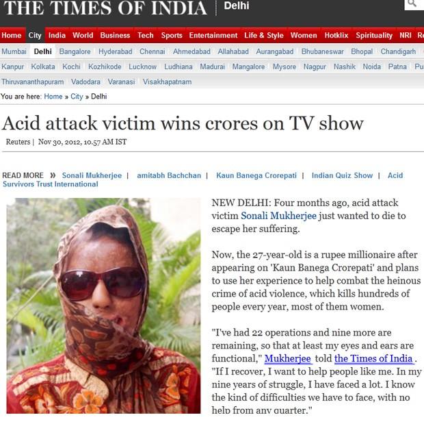 Mulher que teve rosto queimado com ácido ganha R$ 92 mil na Índia