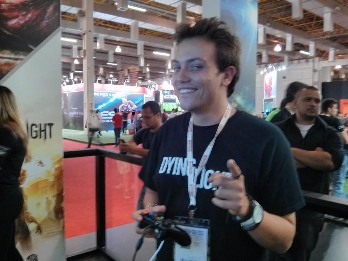 Michal Napora, da Techland, durante nosso bate-papo. (Foto: Reprodução/ Emanuel Schimidt)