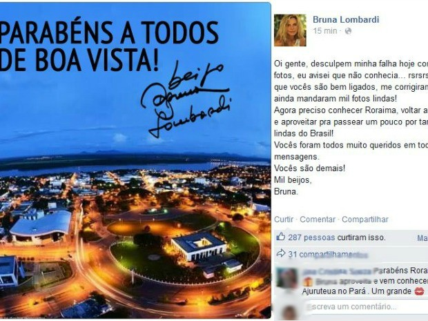 Ainda no dia do aniversário da cidade, atriz fez novo post corrigindo o erro (Foto: Reprodução/Facebook)