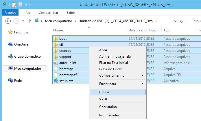 Copie todos os arquivos de instalação do Windows 10 (Foto: Reprodução/Helito Bijora)