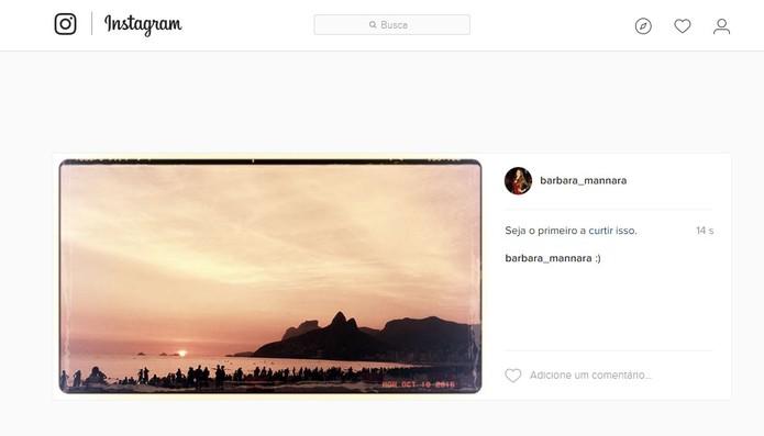 A sua foto será publicada no Instagram pelo PC com todas as personalizações (Foto: Reprodução/Barbara Mannara) (Foto: A sua foto será publicada no Instagram pelo PC com todas as personalizações (Foto: Reprodução/Barbara Mannara))
