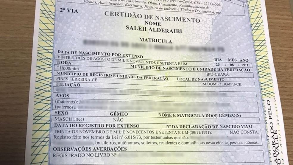 Saleh Alderaibi utilizou certidão de nascimento falsa para se passar por brasileiro para emitir RG em João Pessoa (Foto: Lucas Sá/DDF João Pessoa/Divulgação)