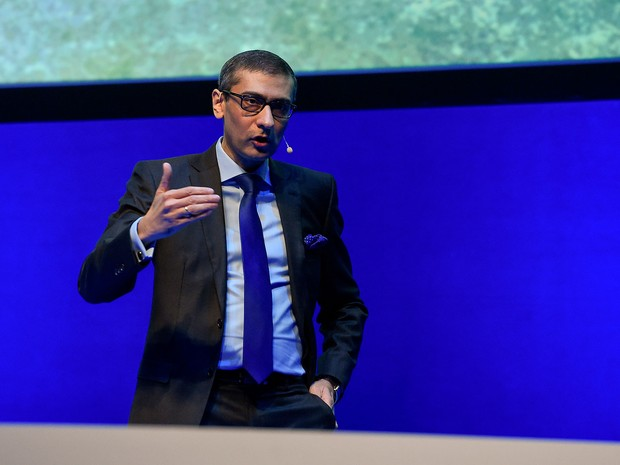 Rajeev Suri, presidente-executivo da Nokia, durante o MWC 2016. (Foto: Josep Lago / France Presse)