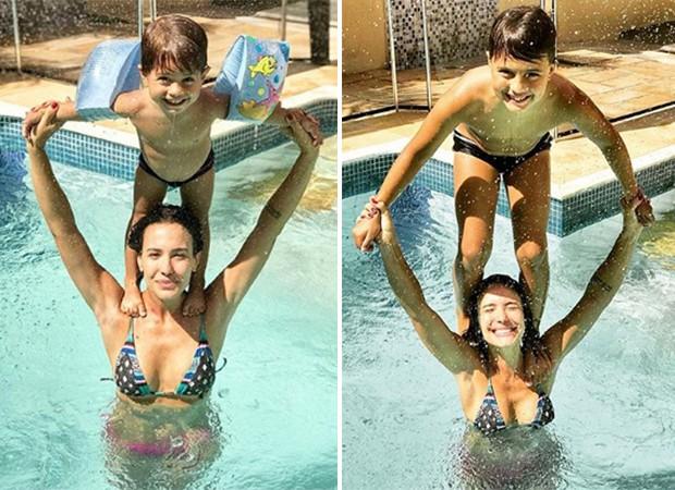 Juliana Knust com os filhos Arthur, de 2 anos, e Matheus, de 7 (Foto: Reprodução/Instagram)