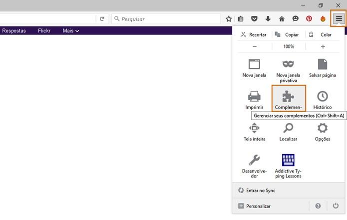 Acesse o menu de complementos do Mozilla Firefox no computador (Foto: Reprodução/Barbara Mannara)