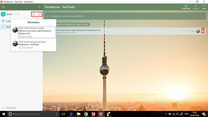 Wunderlist para Windows traz botões de notificações e comentários (Foto: Reprodução/Elson de Souza)