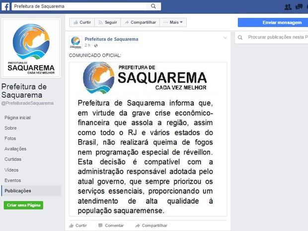 Informação foi divulgada em uma rede oficial do município (Foto: Reprodução/Facebook)