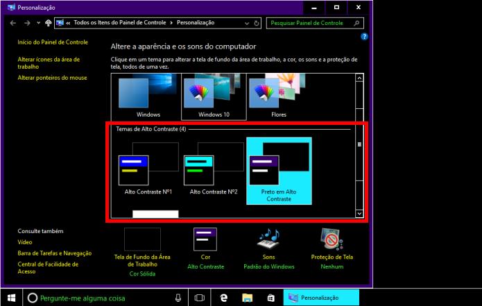 Modo de alto contraste pode causar problemas no Windows (Foto: Reprodução/Edivaldo Brito)