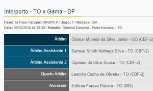 Árbitro de Goiás apita partida entre Interporto e Gama (Foto: Reproduçã/CBF)