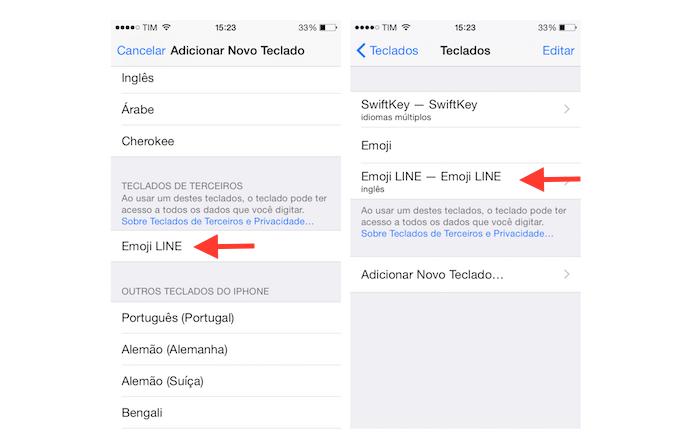 Adicionando o Emoji Keyboard by LINE as opções de teclado virtual do iOS (Foto: Reprodução/Marvin Costa)