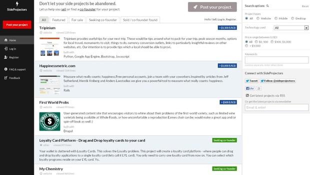 O SideProjectors.com vende ideias de negócios que não foram para frente (Foto: Reprodução)