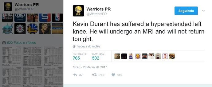 Twitter dos Warriors confirma a lesão de Kevin Durant (Foto: Reprodução/Twitter)