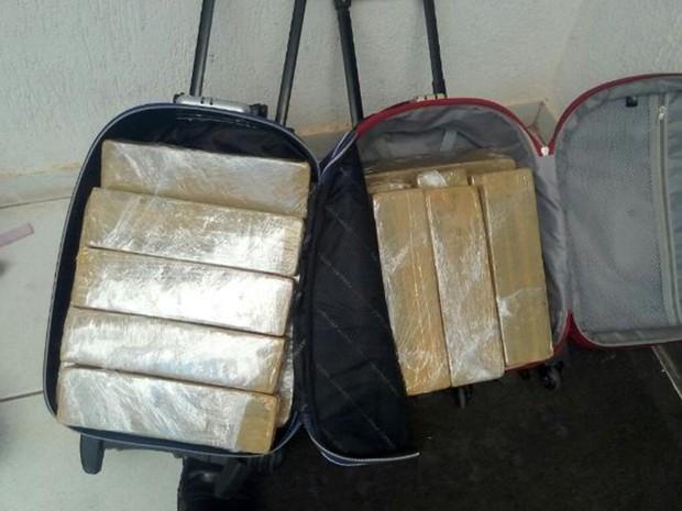 Droga estava dentro de mochilas de uma passageira (Foto: Divulgação/Polícia Rodoviária)