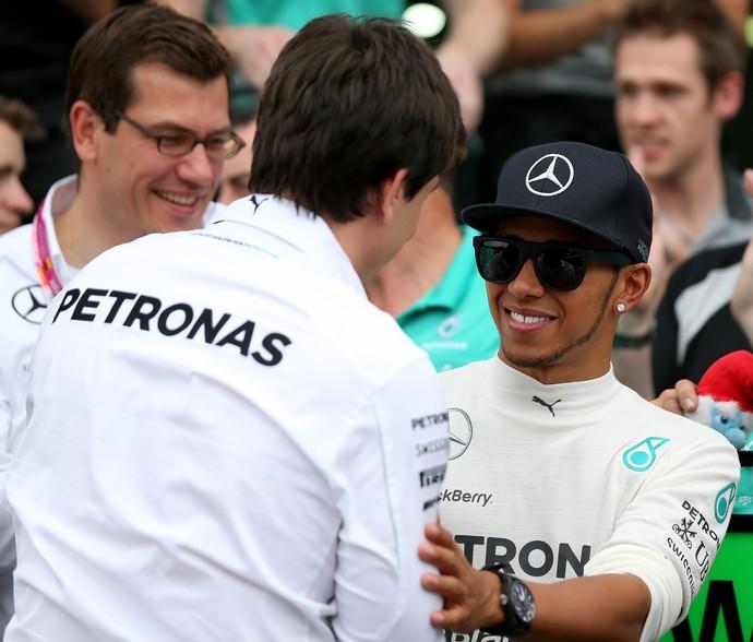 Toto Wolff e Lewis Hamilton no GP da Alemanha (Foto: Getty Images)