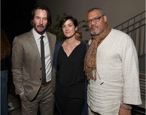 Keanu Reeves, Laurence Fishburne e Carrie-Anne Moss (Foto: Instagram)