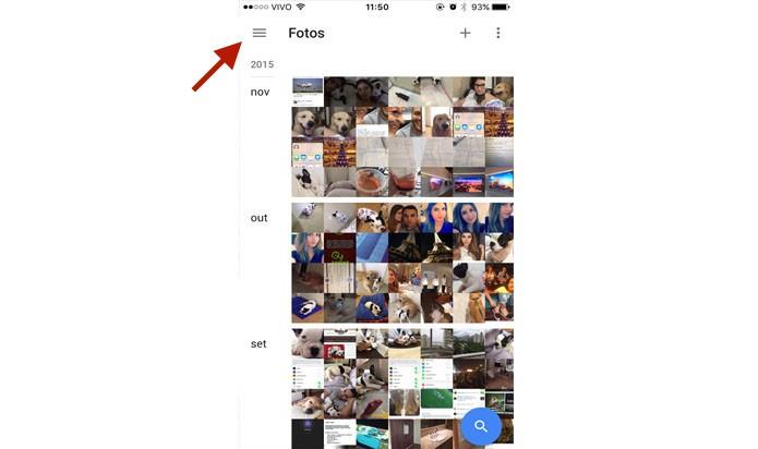 Abra o app do Google Fotos e selecione o ícone dos três traços, como aponta a seta (Foto: Gabriella Fiszman/ TechTudo)