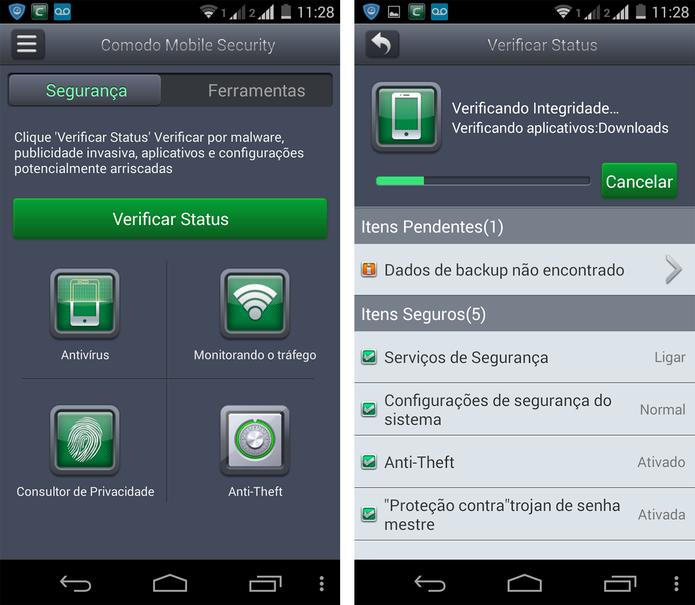 Verifiação de status no Comodo Mobile Security (Foto: Reprodução/ Marcela Vaz)