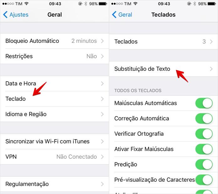 Abra as configurações de substituição de texto (Foto: Reprodução/Helito Bijora)