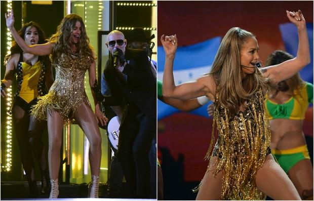 Sofia Vergara no Grammy e Jennifer Lopez no Billboard Awards em 2014 (Foto: AFP/ Getty Images)